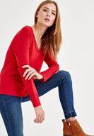 Bayan Kırmızı Biye Detaylı Uzun Kollu Tişört