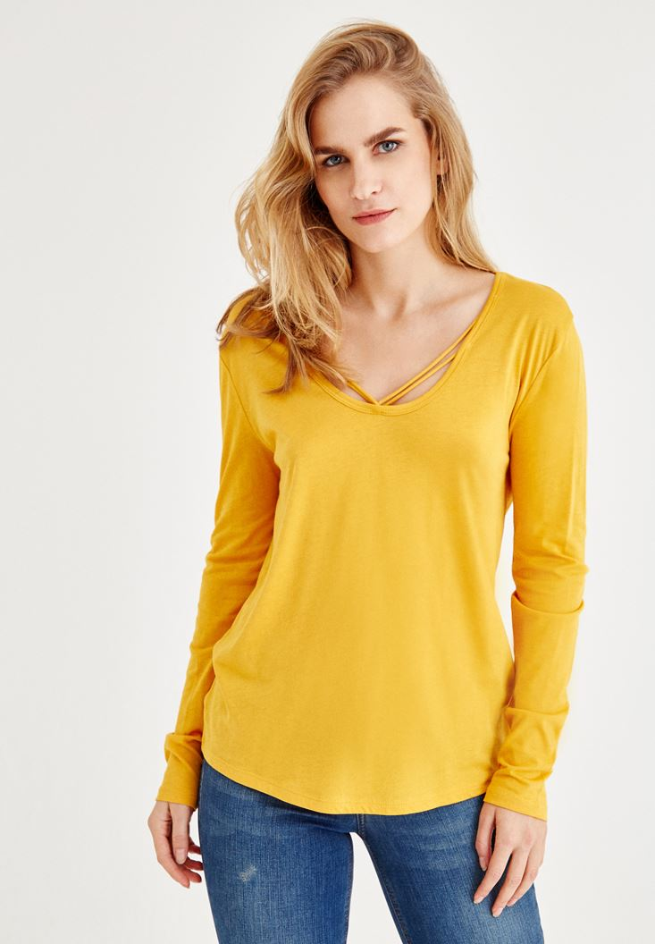 Yellow Long Sleeve T-Shirt With Binding