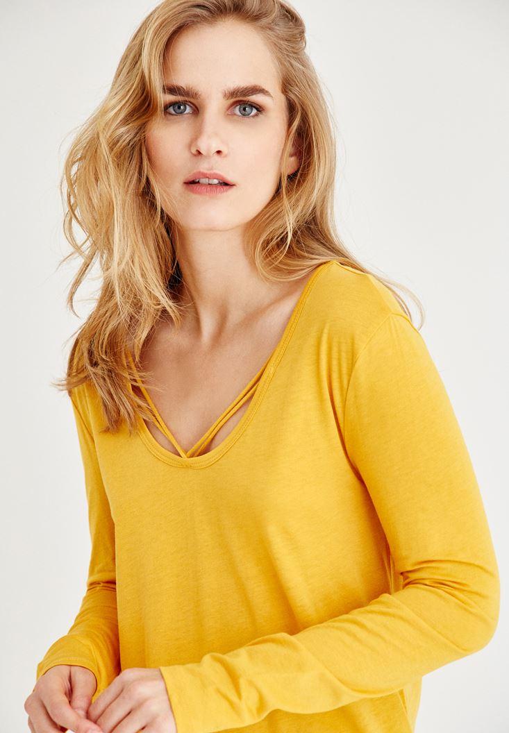 Bayan Turuncu Biye Detaylı Uzun Kollu Tişört