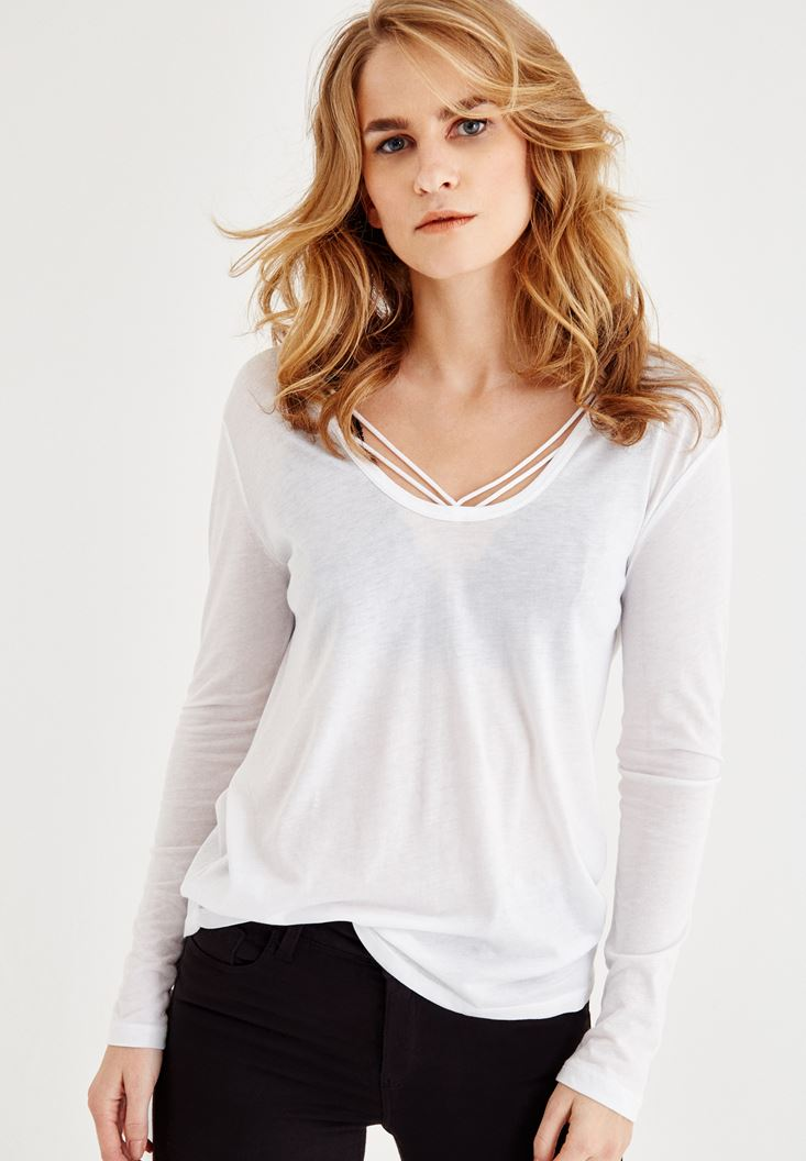 White Long Sleeve T-Shirt With Binding