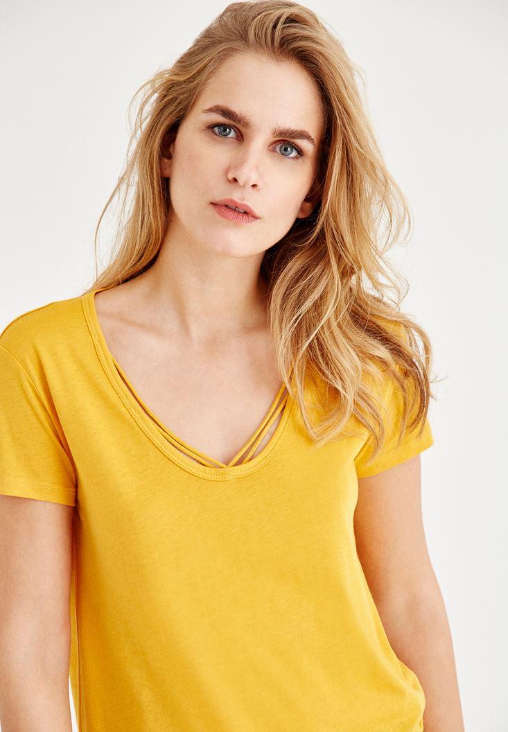 Yellow Half Sleeve T-Shirt With Binding Detail