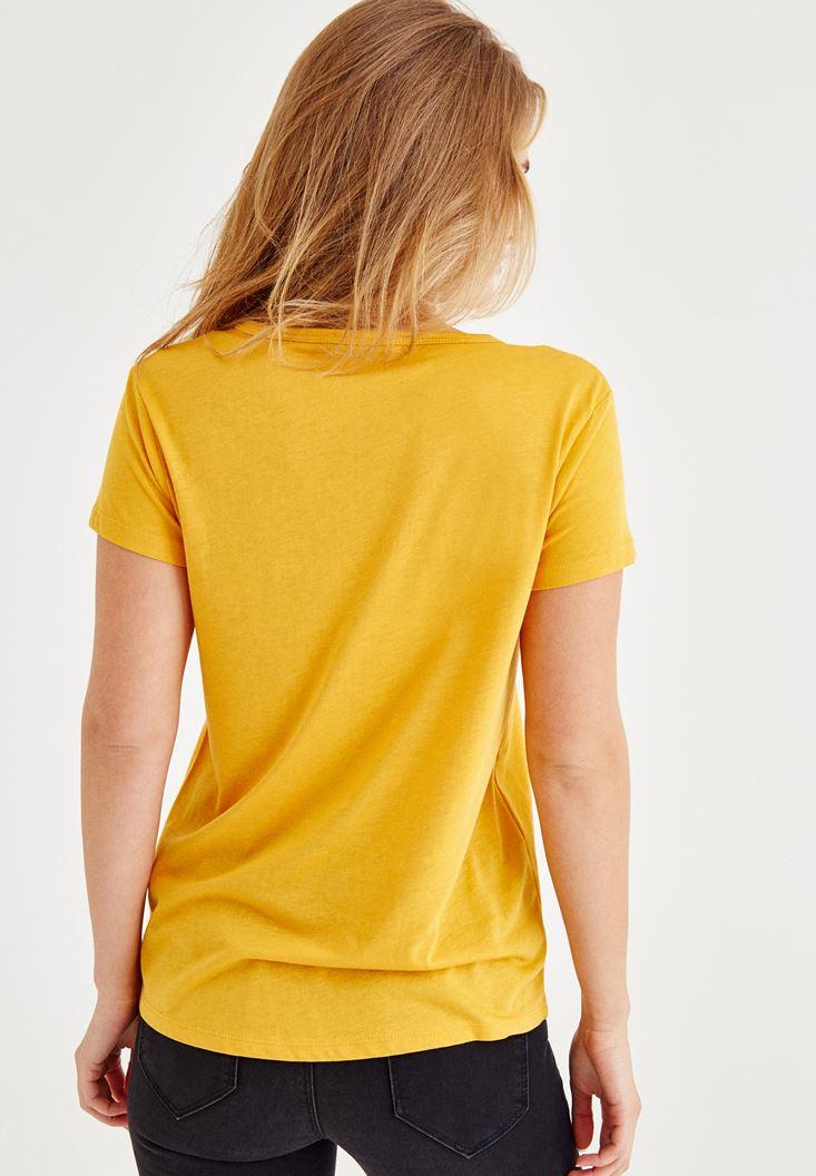 Bayan Sarı Biye Detaylı Yarım Kollu Tişört