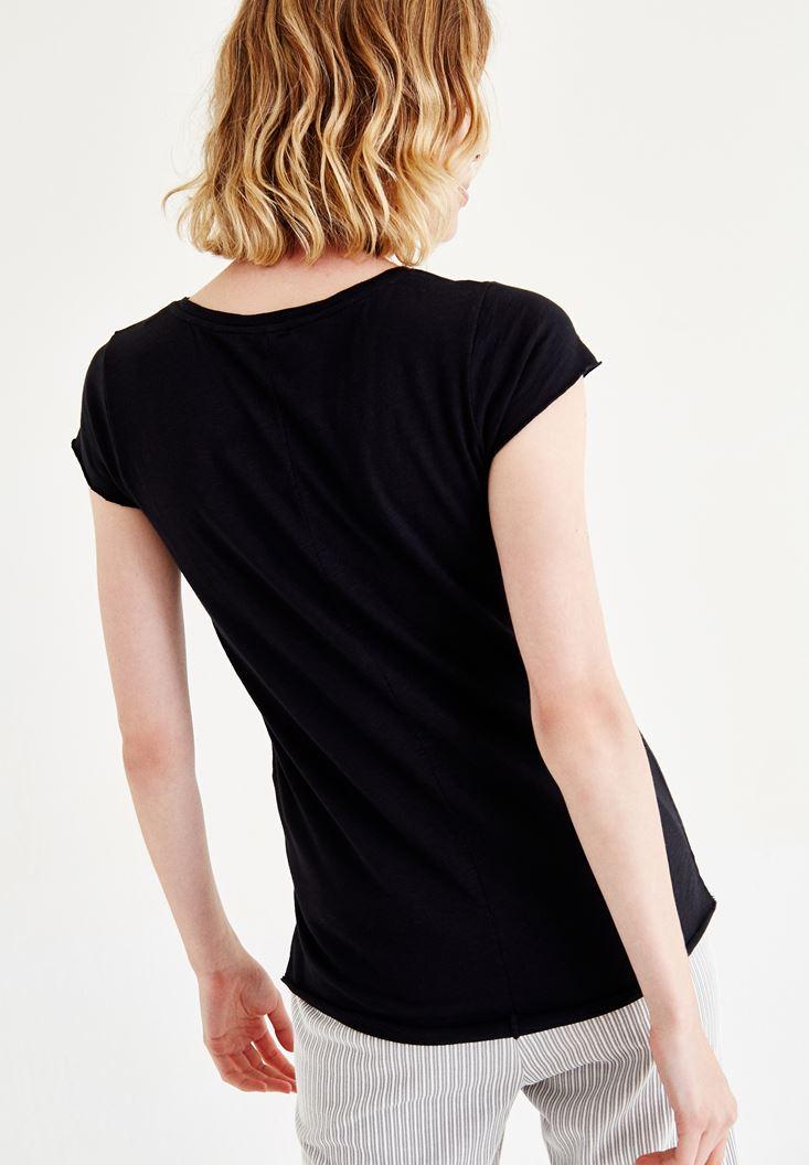 Bayan Siyah Baskılı Yarım Kollu Tişört
