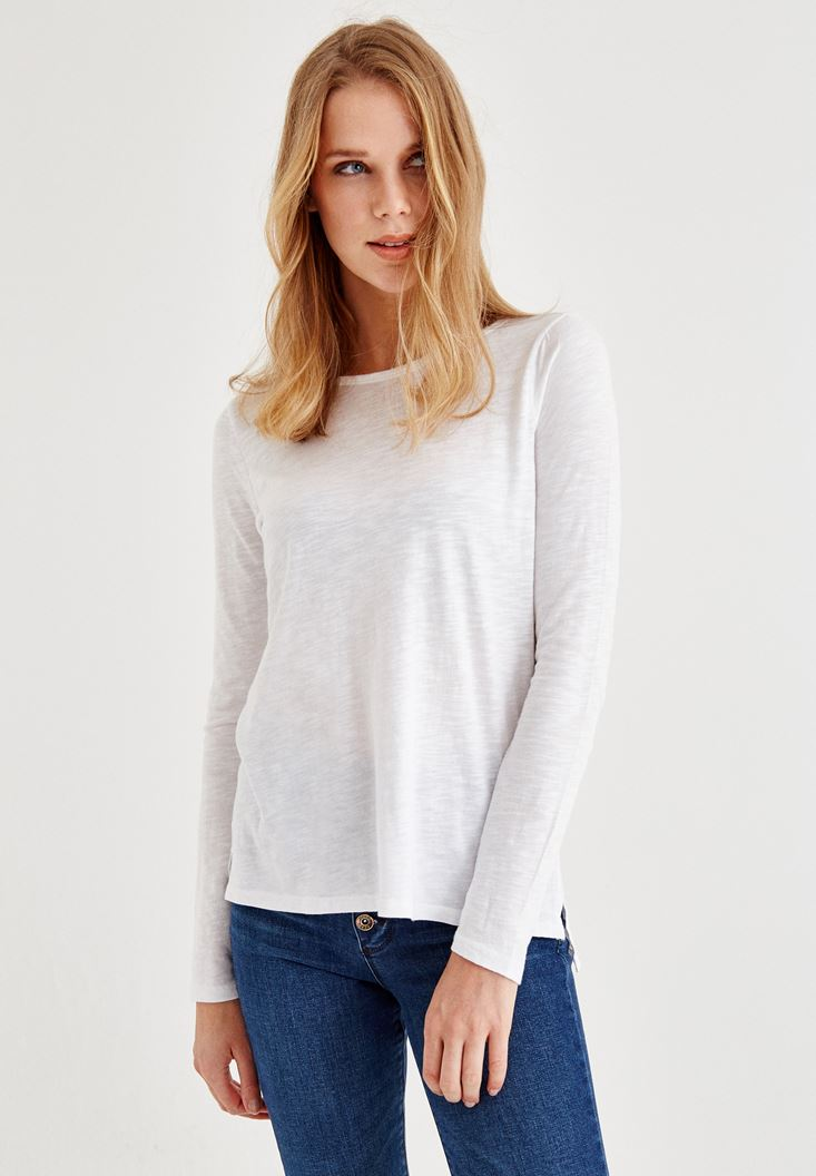 White Long Sleeve T-Shirt With Side Detail