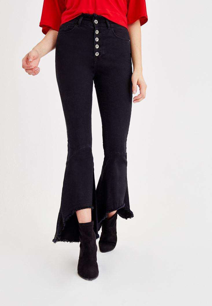 Siyah Ultra Yüksek Bel Geniş Paça Pantolon
