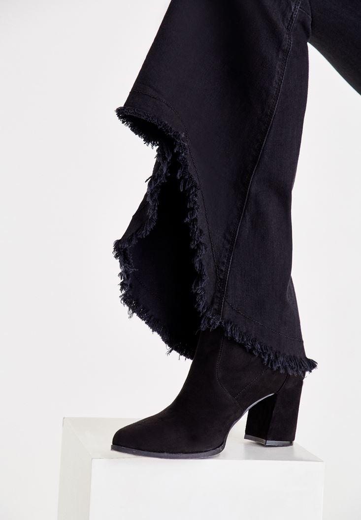 Bayan Siyah Ultra Yüksek Bel Geniş Paça Pantolon