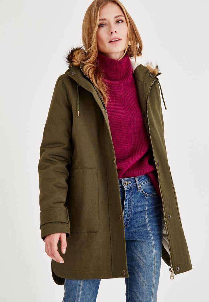 Yeşil Kürk Kapüşon Detaylı Ceket
