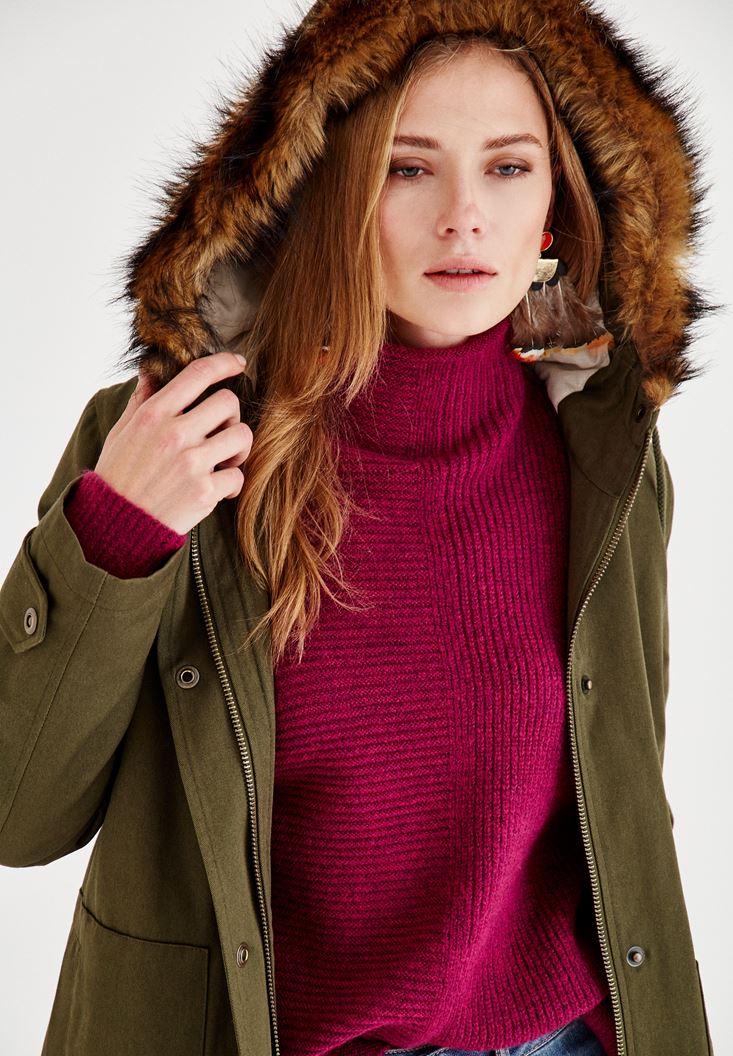 Bayan Yeşil Kürk Kapüşon Detaylı Ceket