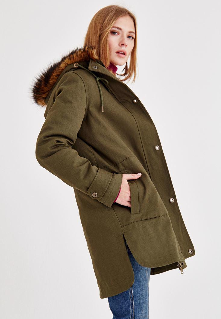 Women Green Jacket with Fur Hood