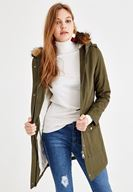 Women Green Coat with Fur Hood