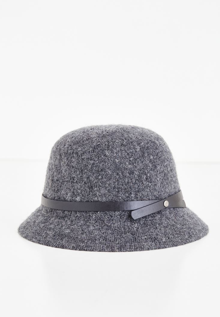 Grey Hat with Leather Ribbon Detail