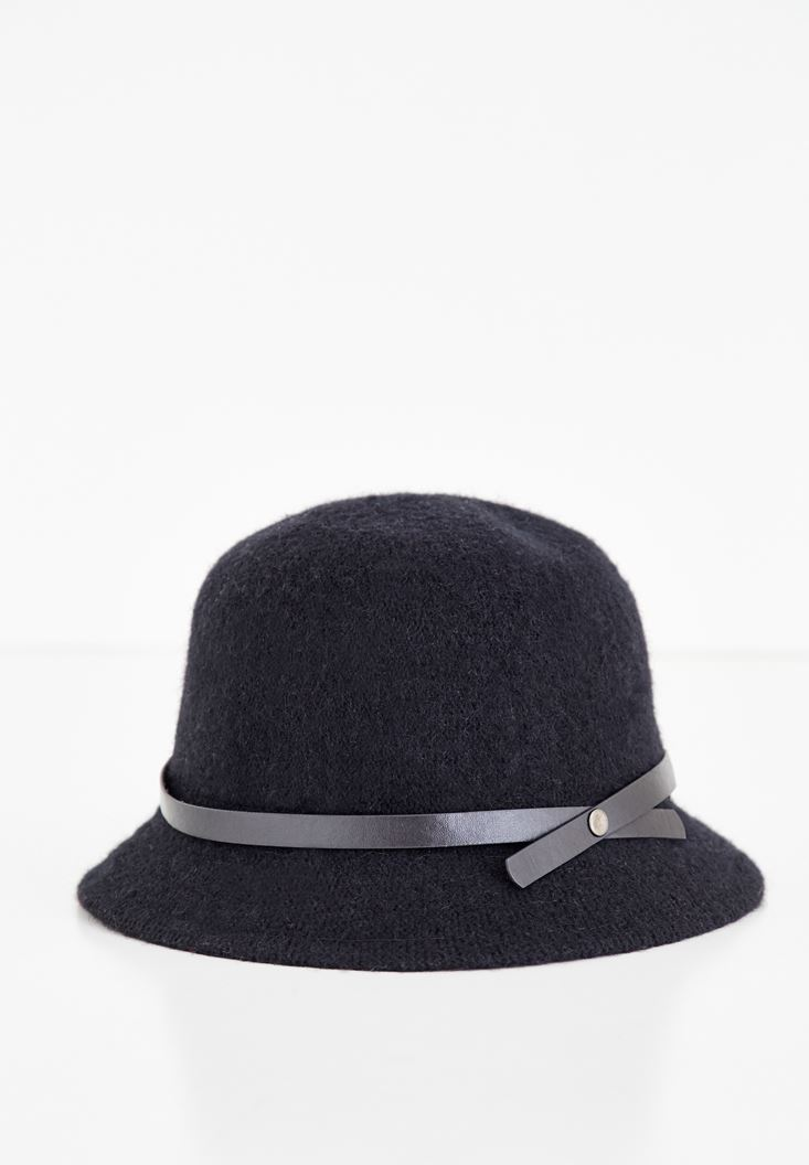 Black Hat with Leather Ribbon Detail