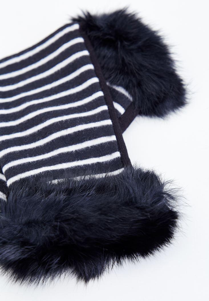 Bayan Siyah Kürk Detaylı Çizgili Eldiven