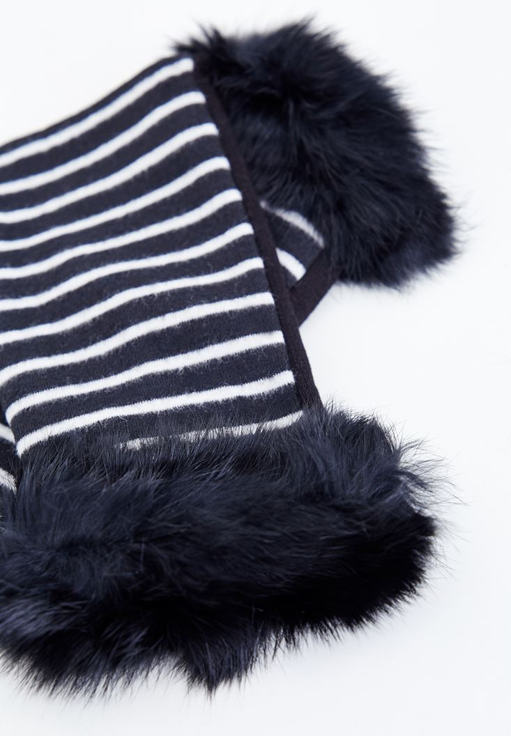 Black Fur Glove with Stripe Details