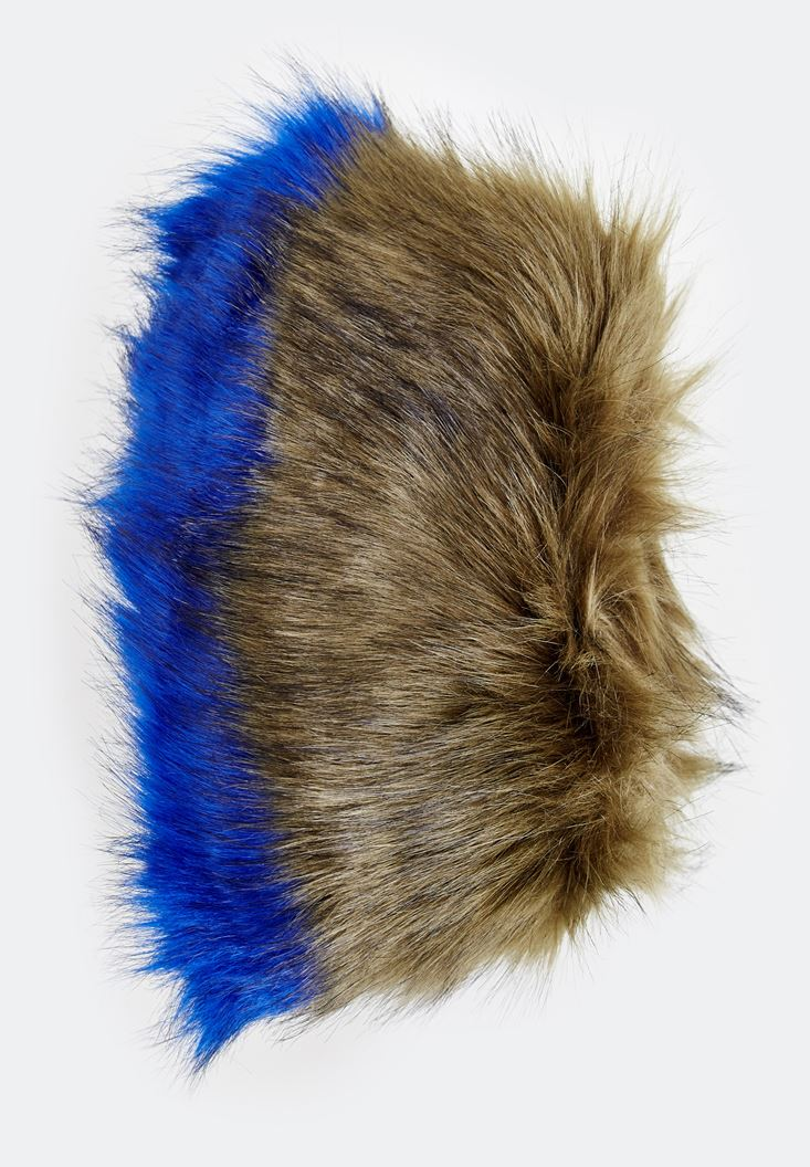 Mixed Fake Fur with Double Color Detail