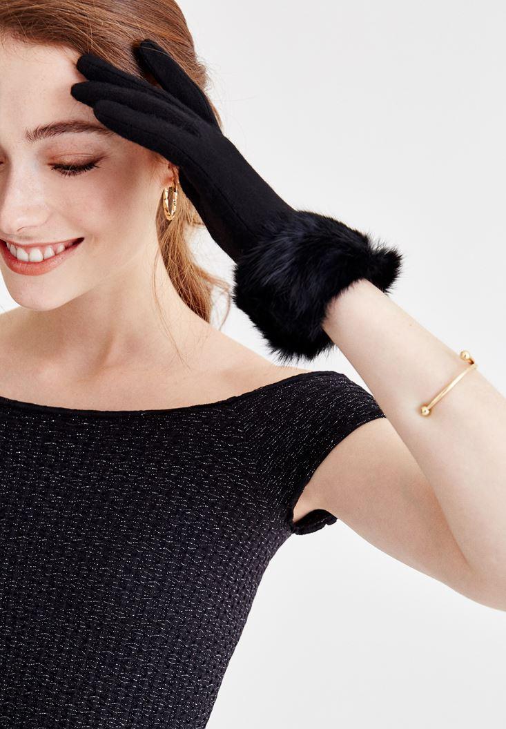 Black Wool Glove with Fur Details
