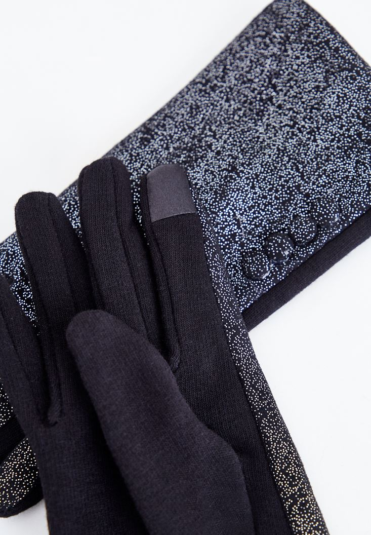 Black Glove with Shiny Details
