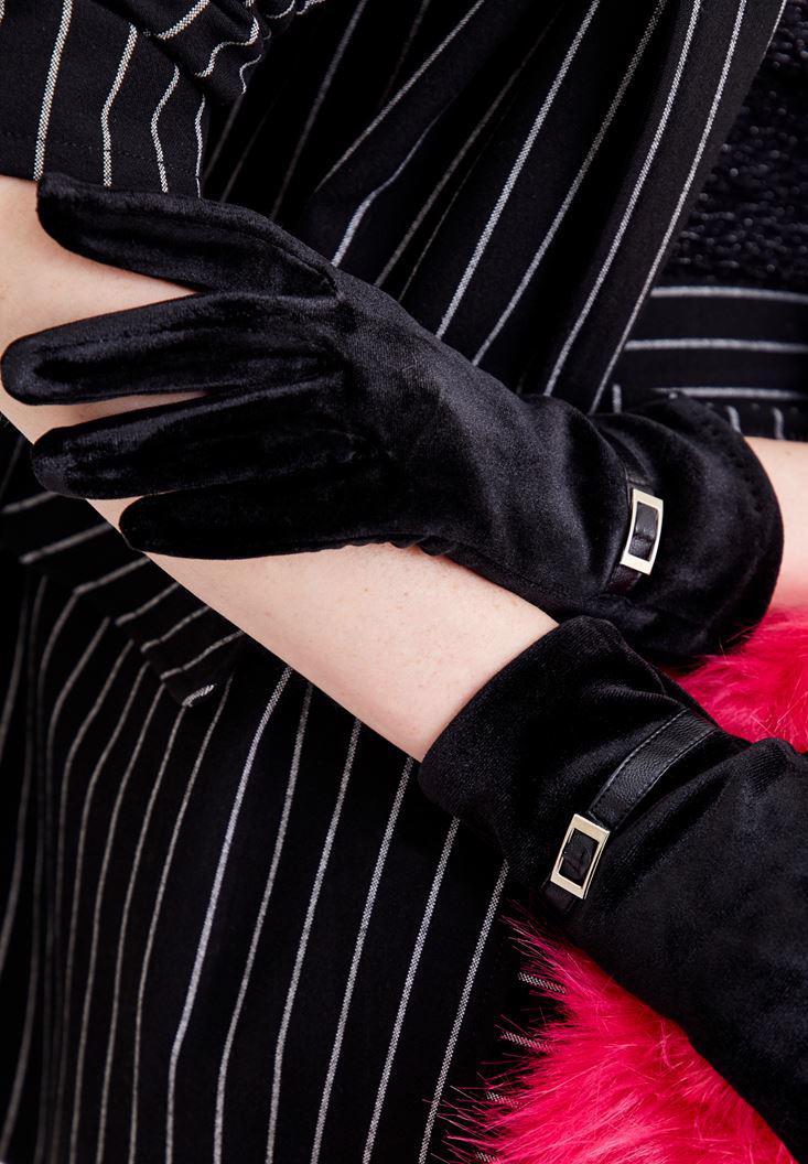 Bayan Siyah Tokalı Kadife Eldiven