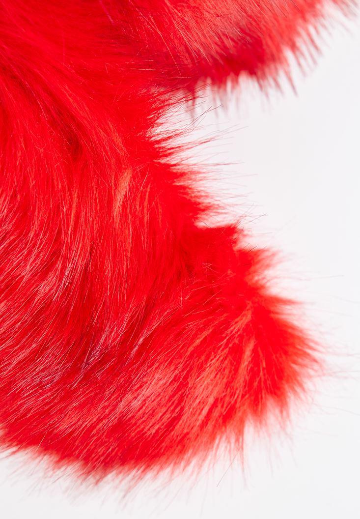 Bayan Kırmızı Tüylü Atkı