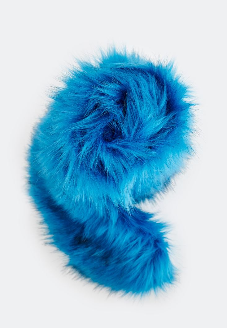 Blue Scarf with Fake Fur