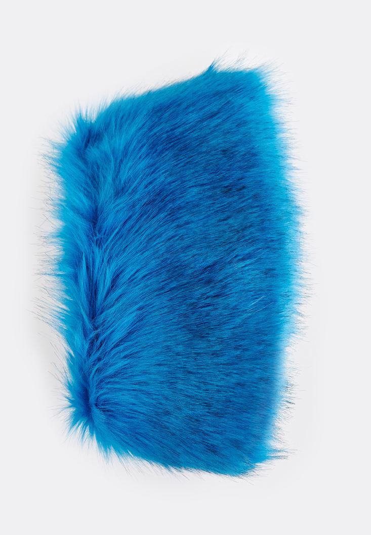 Bayan Mavi Tüylü Atkı