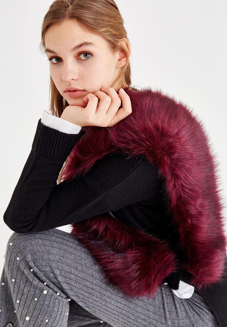 Purple Scarf with Fake Fur