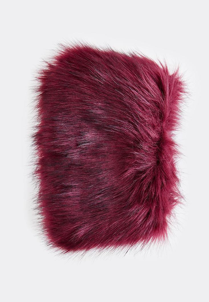 Women Purple Scarf with Fake Fur