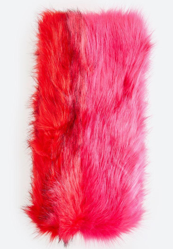 Bayan Kırmızı Tüylü Uzun Atkı