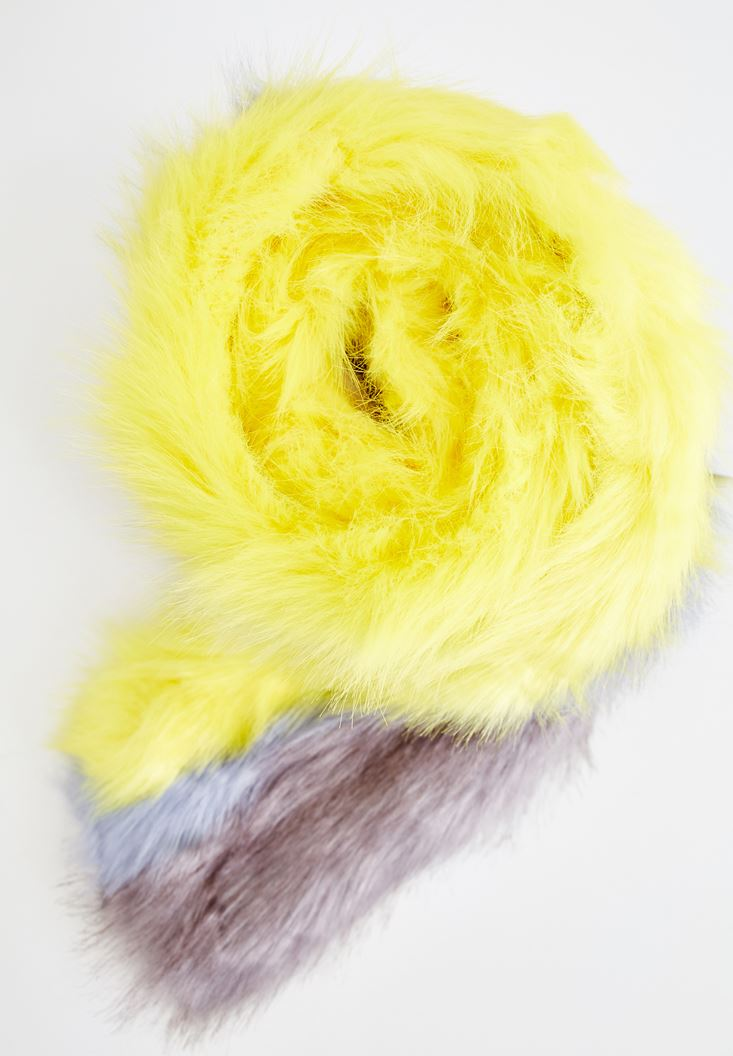 Mixed Long Scarf with Fur