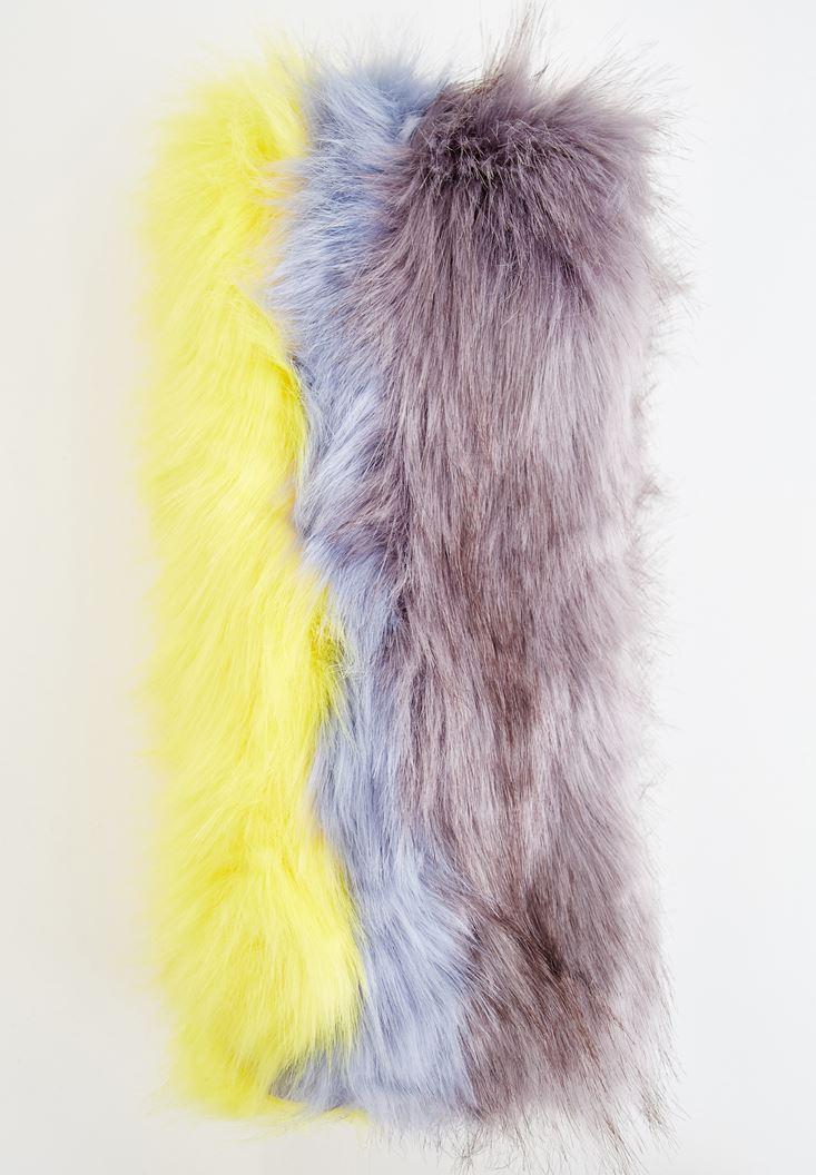Bayan Çok Renkli Tüylü Uzun Atkı