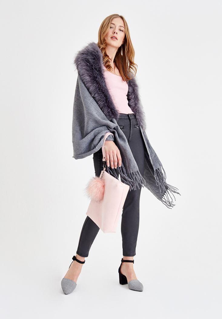 Poncho with Fur Details