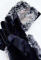 Bayan Siyah Tüy Detaylı Kadife Eldiven