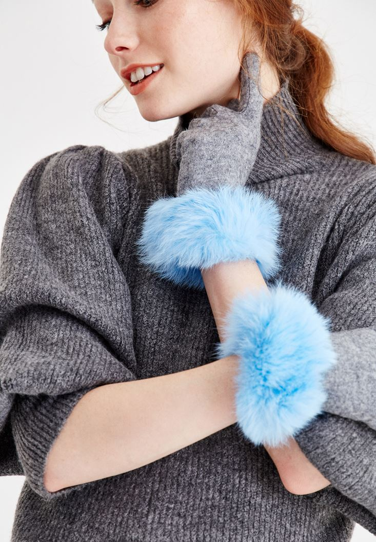 Blue Glove with Fur Details