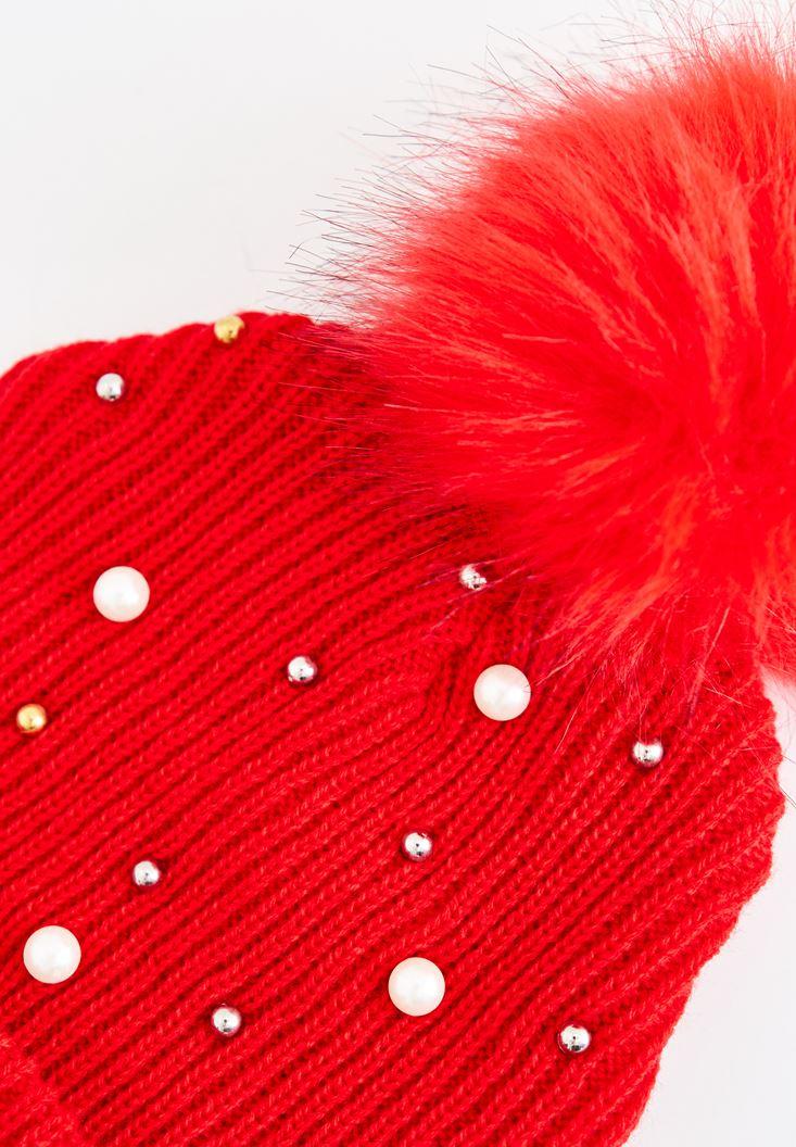 Bayan Kırmızı Ponpon ve İnci Detaylı Bere