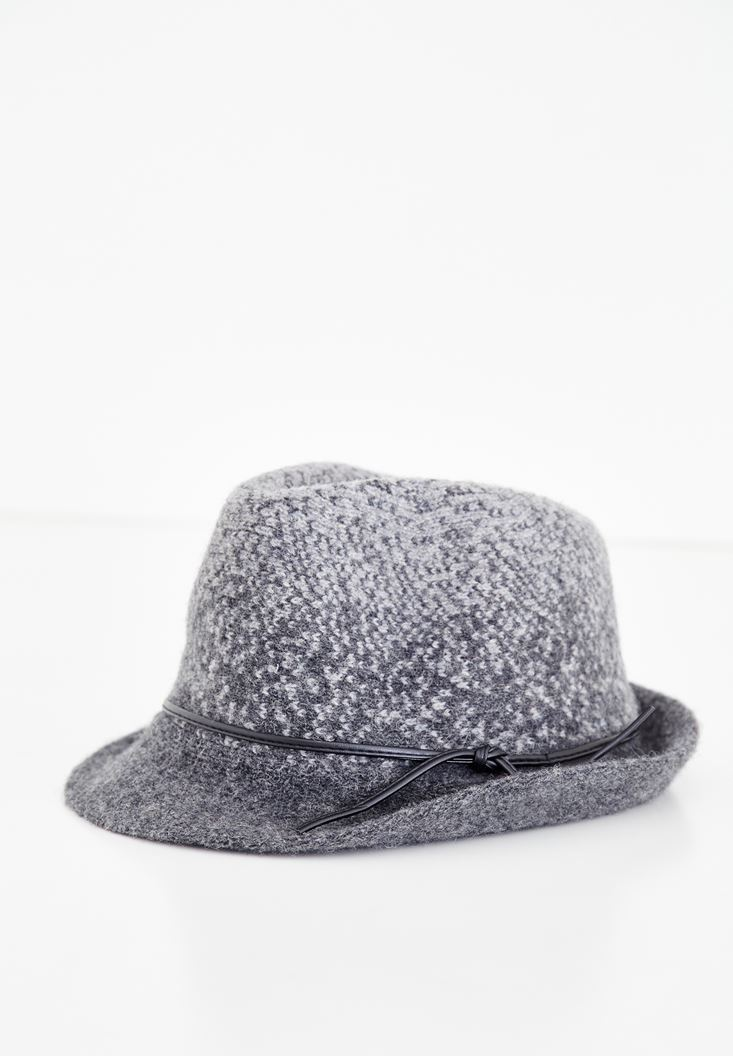 Grey Hat with Leather Details