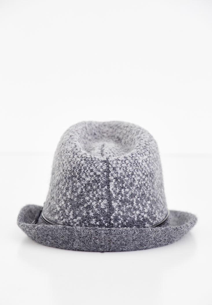 Bayan Gri Deri Detaylı Yün Şapka