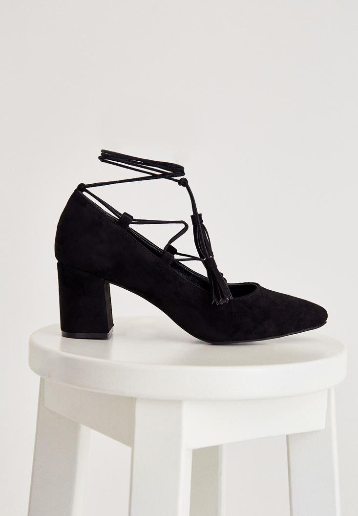 Siyah Kalın Topuklu Bağlamalı Topuklu Ayakkabı