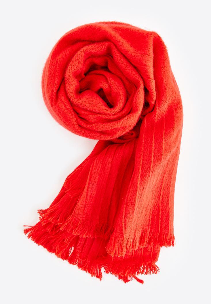 Bayan Kırmızı Püsküllü Atkı