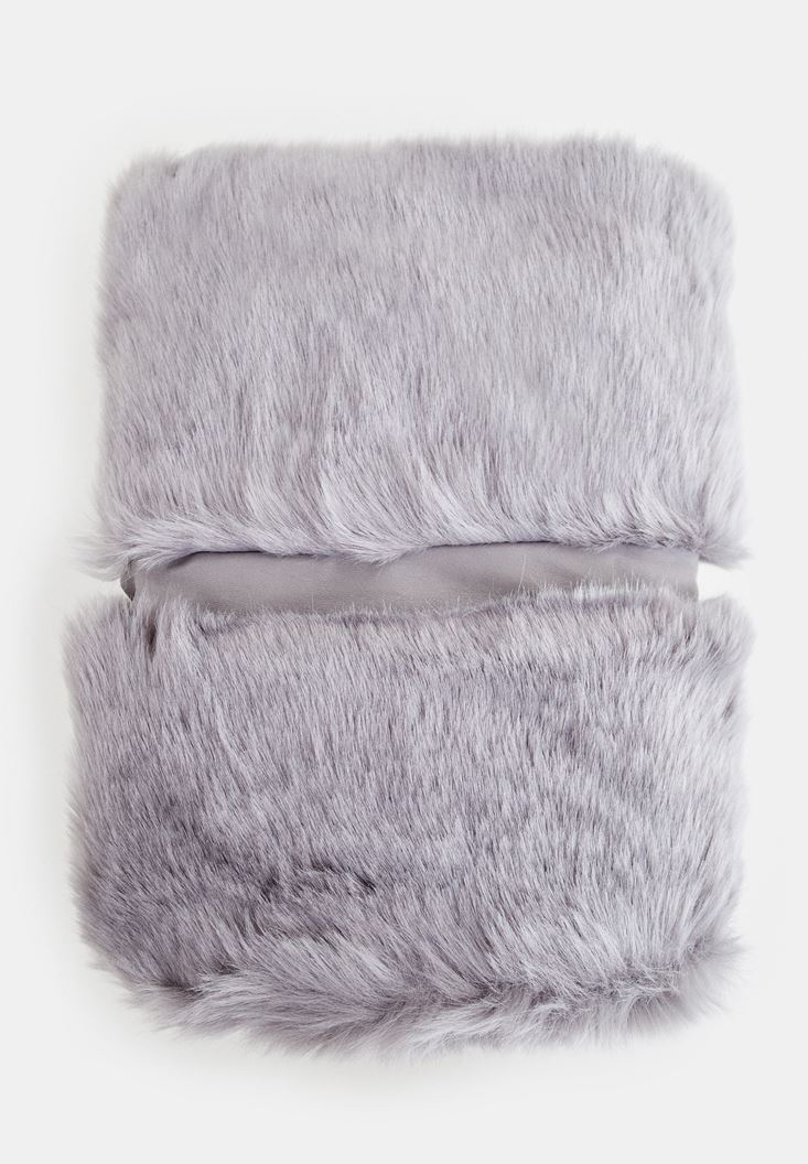 Grey Fake Fur with Details