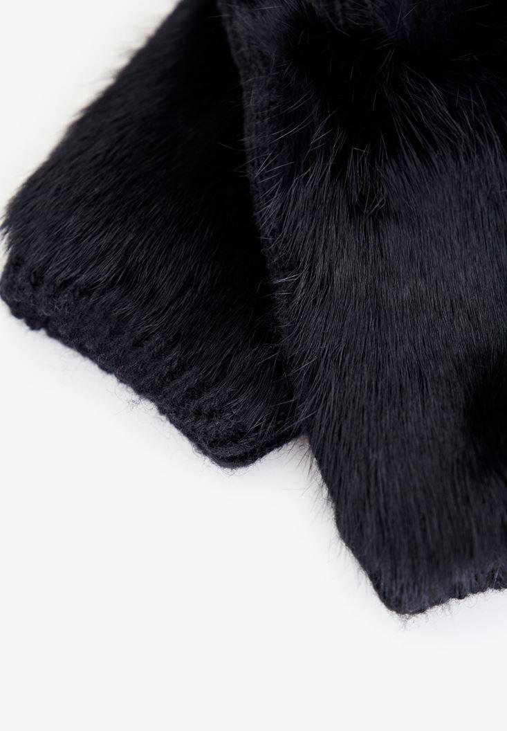 Bayan Siyah Tüylü Eldiven