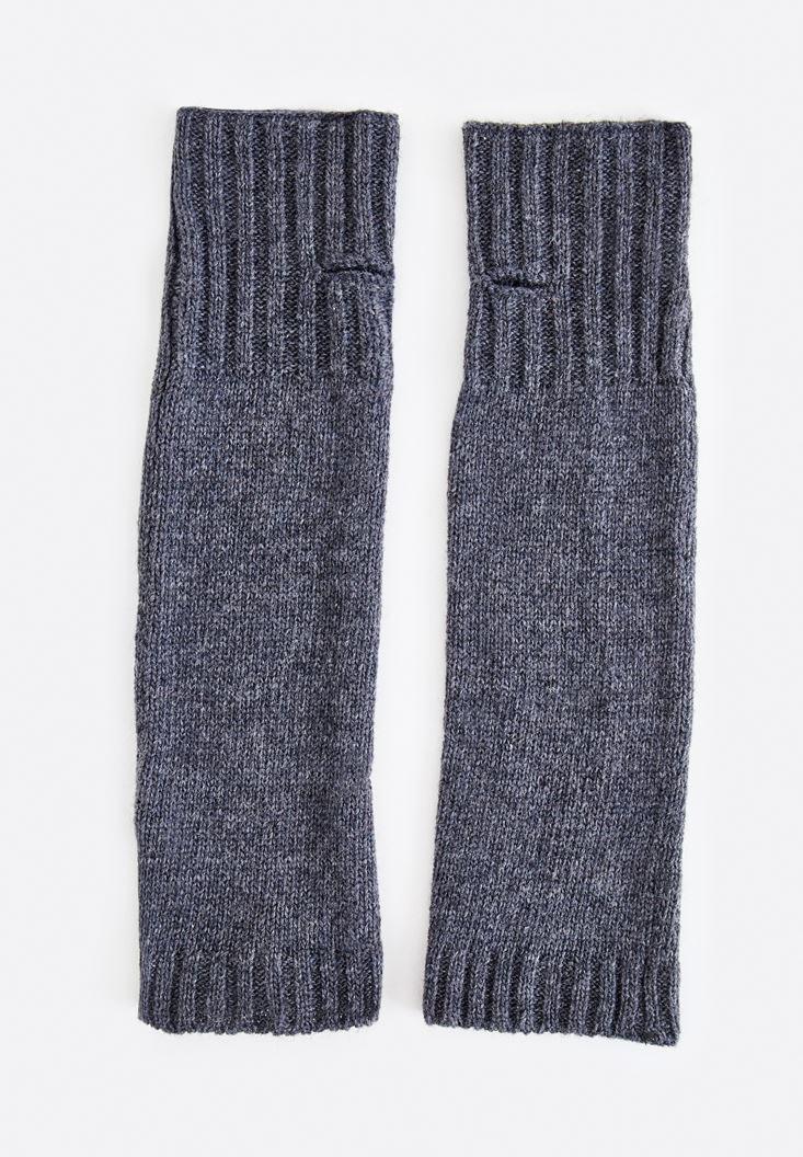 Grey Fingerless Long Gloves