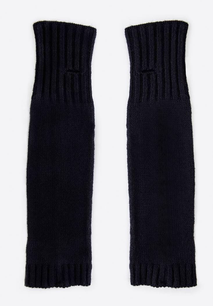 Bayan Siyah Uzun Kesik Eldiven