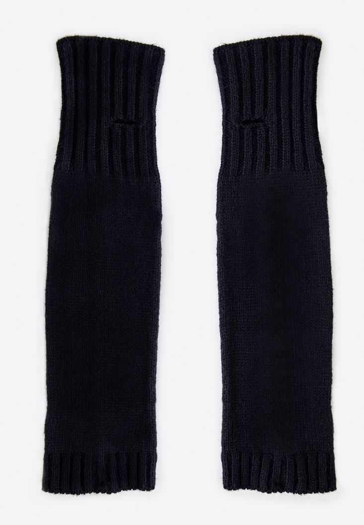 Black Fingerless Long Gloves
