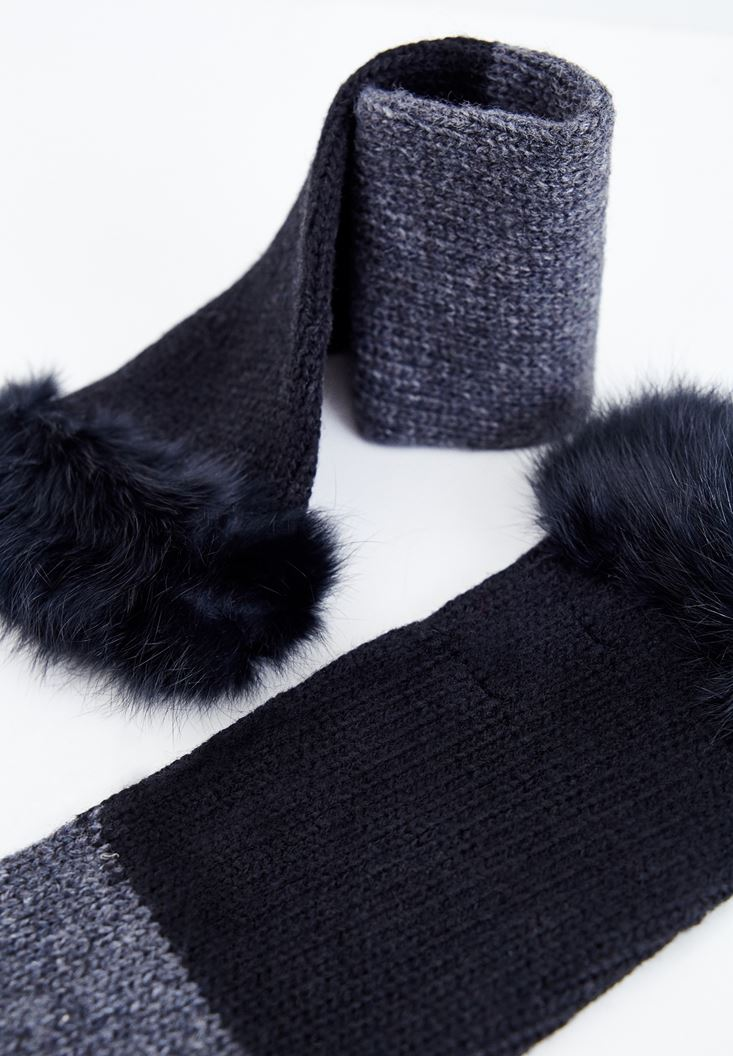 Black Long Glove with Fur Details