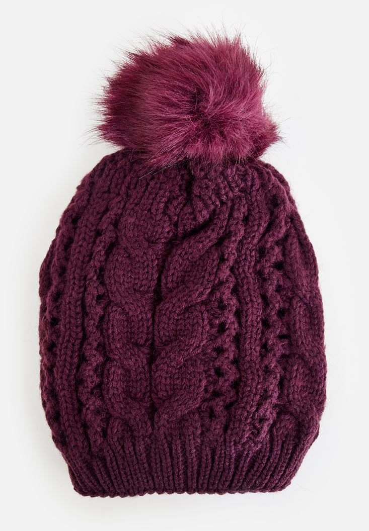Bordeaux Beret with Pompom