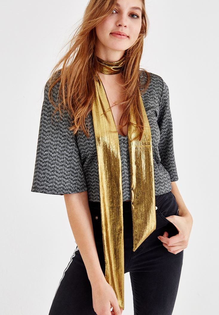 Gold Foulard with Shiny Details