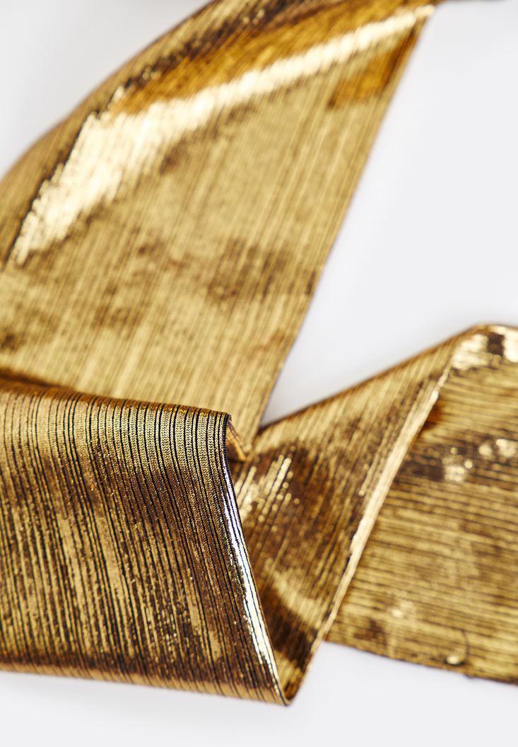 Bayan Altın Uzun Parlak Fular