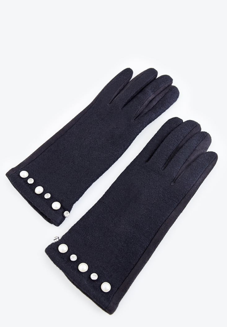 Black Glove with Pearl Details