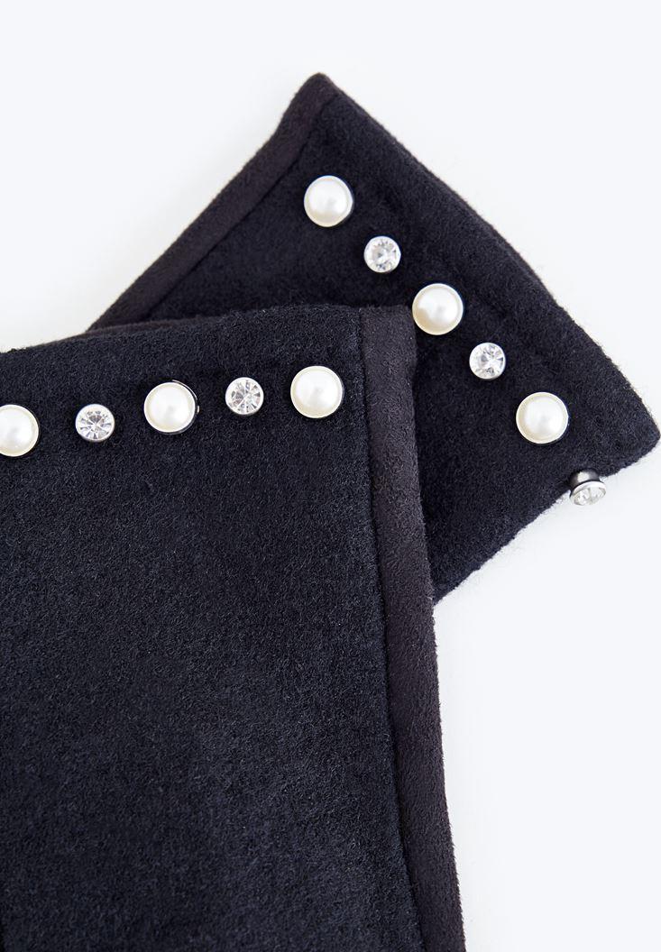 Bayan Siyah İnci Detaylı Eldiven