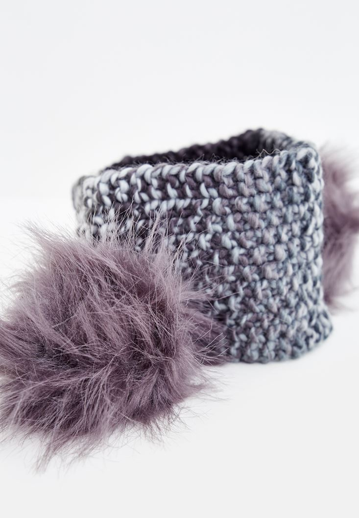 Black Knitted Hair Band with Furry Detail